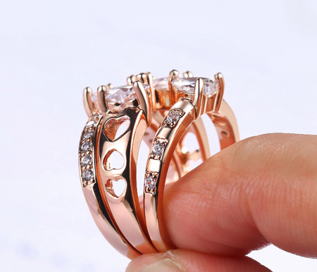 Exclusive Wear ROSE GOLD  ring set of 3.
