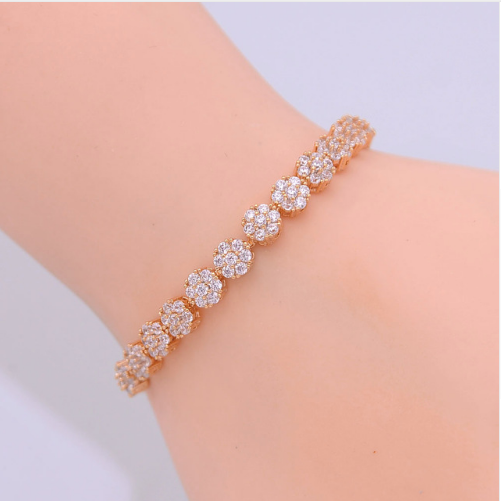 Zircon Sparkling Round Beads bracelet in Rose Gold