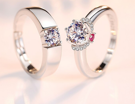 high quality platinum plated couple rings both rings adjustable!