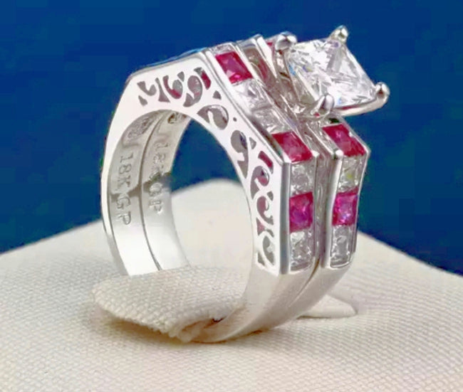 Exclusive Wear PLATINUM PLATED 2 RING SET