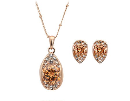 18k rose gold plated high quality necklace earrings jewelry set - Lexception