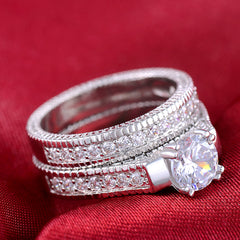 PLATINUM PLATED RING SET OF 2 LUXURY WEAR.