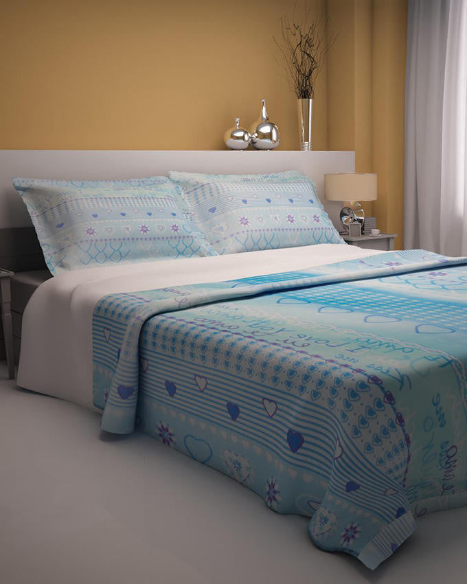 Blue Hearts Design Double Bedsheet With 2 Pillow Covers