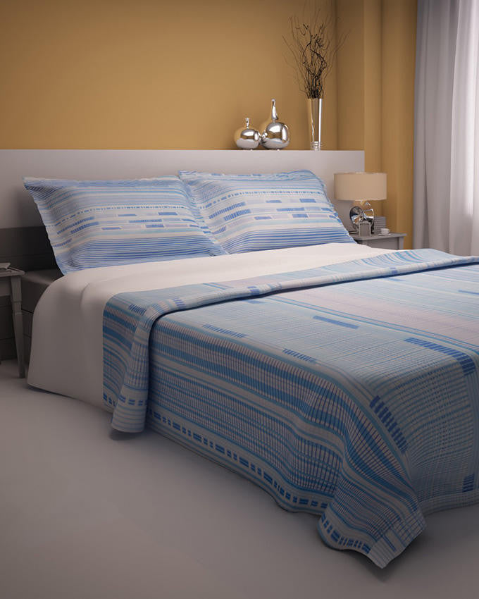Blue Lines Design Double Bedsheet With 2 Pillow Covers - Lexception