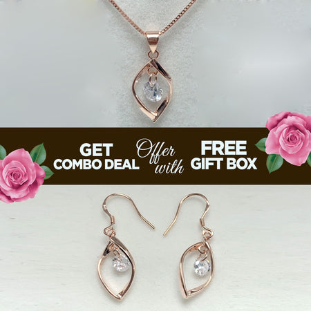 HIGH QUALITY LUXURY WEAR ROSE GOLD PLATED ZIRCON PENDANT CHAIN NECKLACE EARRINGS!