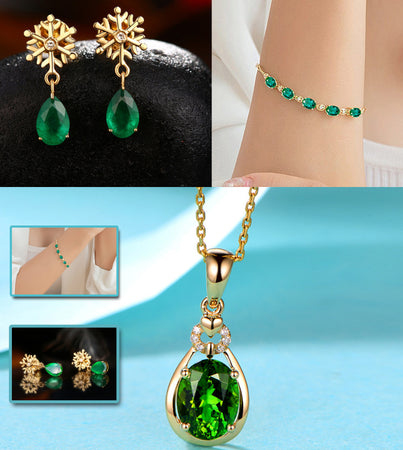 LUXURY WEAR GOLD PLATED ZIRCON PENDANT CHAIN NECKLACE EARRINGS AND BRACELET!