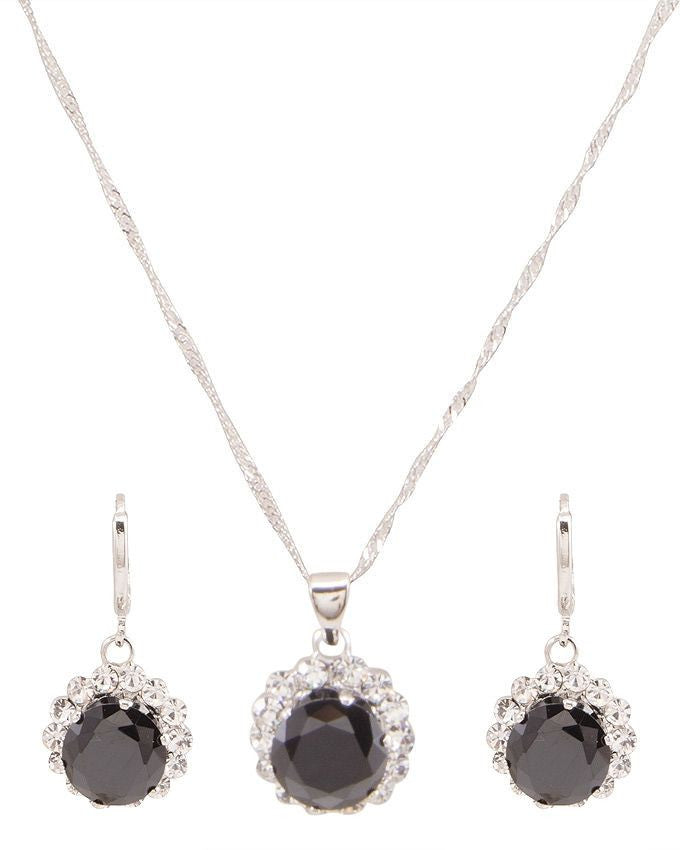 platinum plated zircon earrings necklace chain jewelry set - Lexception