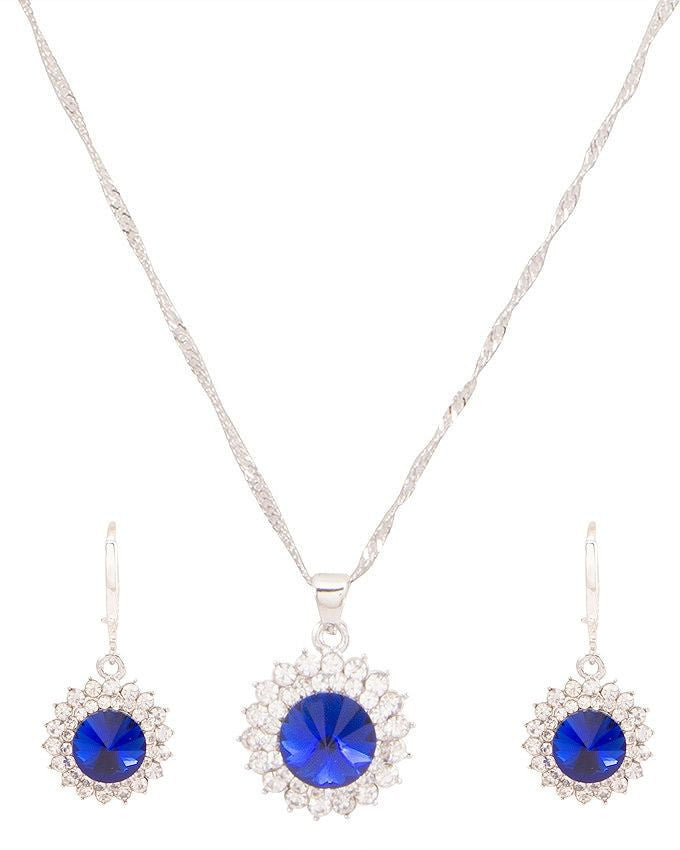 platinum plated zircon earrings necklace chain jewelry set