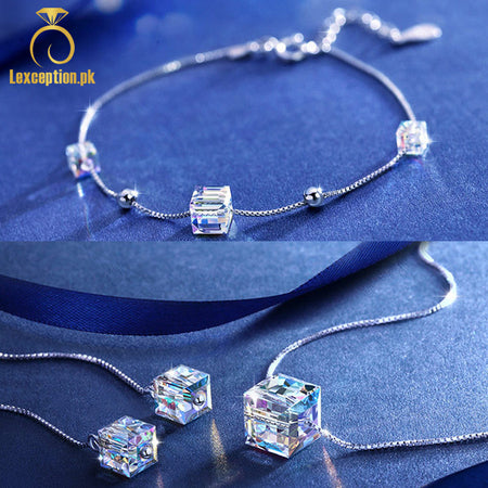 HIGH QUALITY LUXURY WEAR PLATINUM PLATED ZIRCON PENDANT CHAIN NECKLACE EARRINGS AND BRACELET!