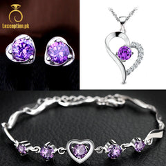 HIGH QUALITY LUXURY WEAR PLATINUM PLATED ZIRCON PENDANT CHAIN NECKLACE EARRINGS BRACELET!
