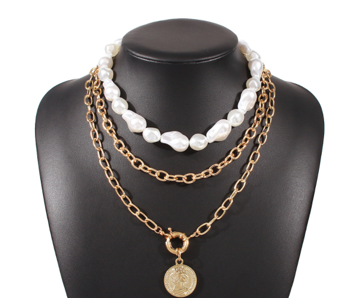 Creative relief head portrait pendant pearl necklace-creative multi-layer necklace set for women