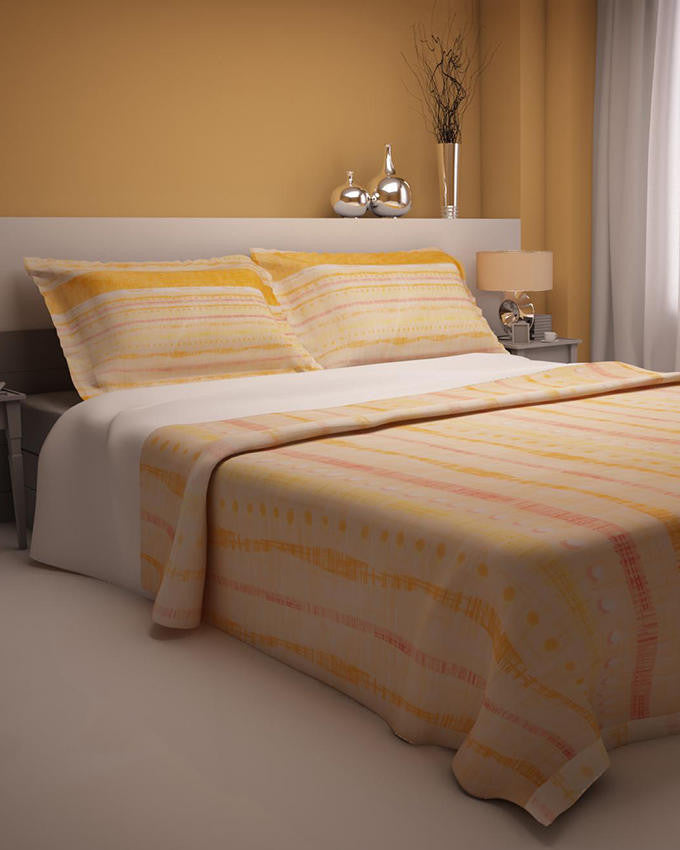 Orange Dots Design Double Bedsheet With 2 Pillow Covers