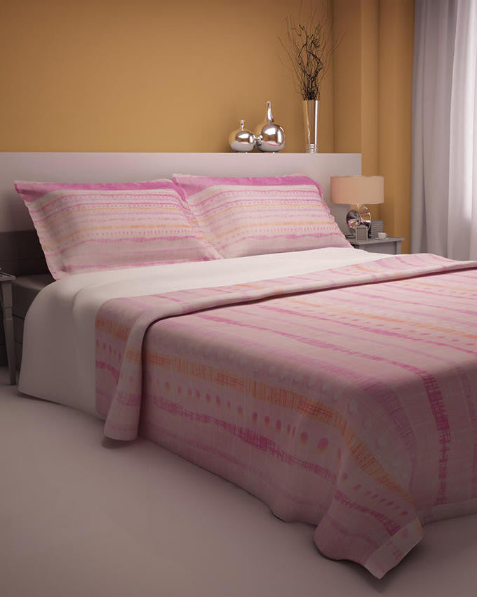 Pink Dots Design Double Bedsheet With 2 Pillow Covers