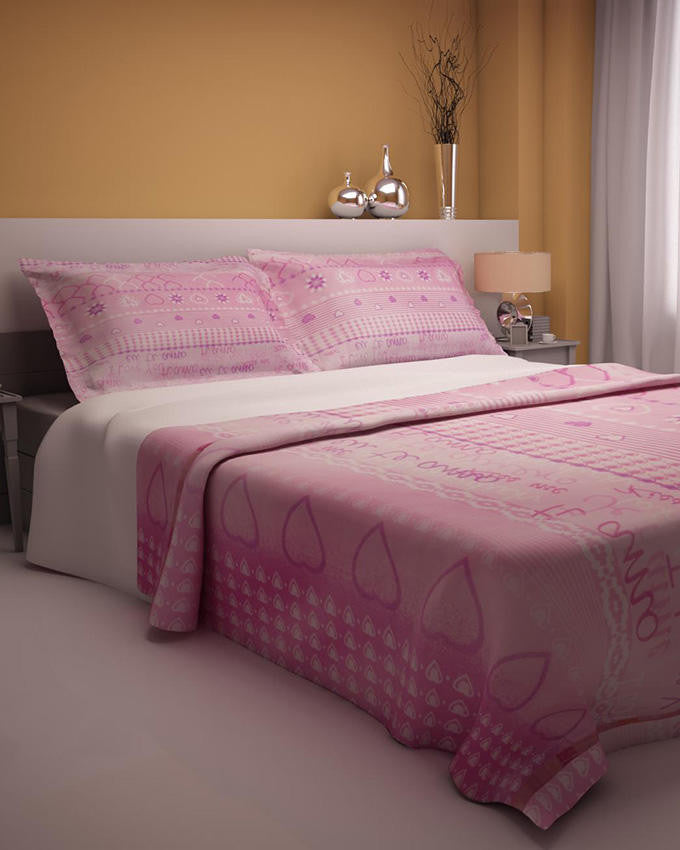 Pink Hearts Design Double Bedsheet With 2 Pillow Covers