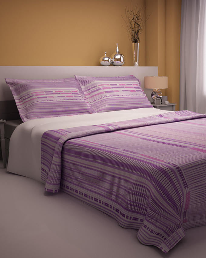 Purple Lines Design Double Bedsheet With 2 Pillow Covers