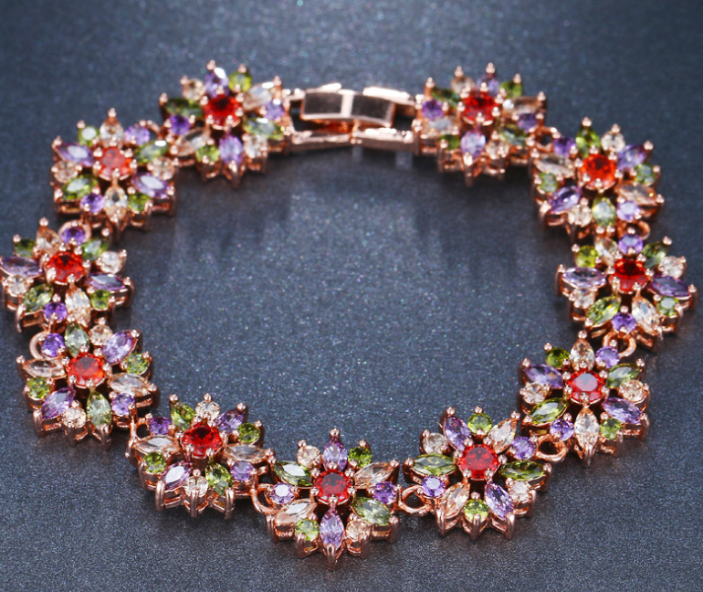 ZIRCON STONES HIGHLY FINISHED ROSE GOLD PLATED ART NOVEAU LUXURY BRACELET