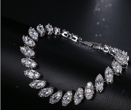 ZIRCON STONES HIGHLY FINISHED RHODIUM PLATED ART NOVEAU LUXURY BRACELET