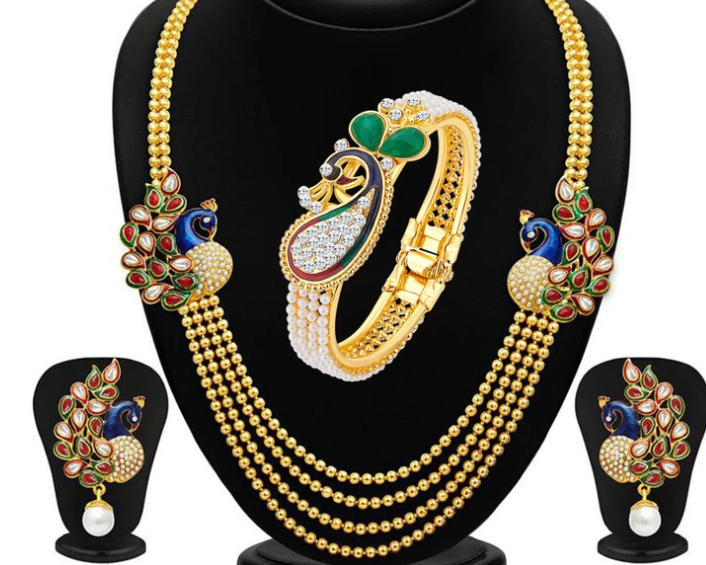 Incredible Pearl Gold Plated Peacock Kundan Necklace+Kada Combo For Women