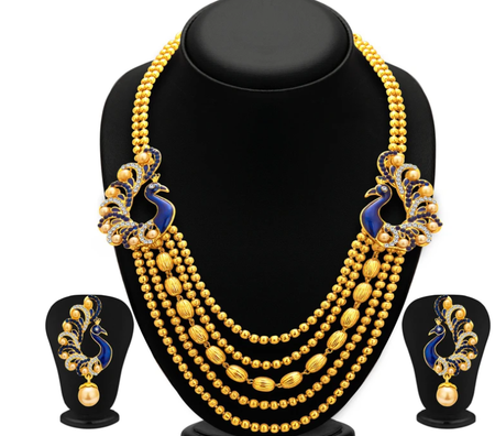 Graceful Five String Peacock Gold Plated Necklace Set