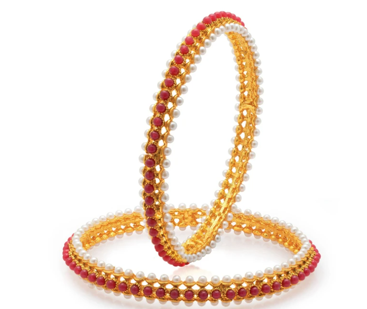 Artistically Gold Plated Moti Bangles for Women