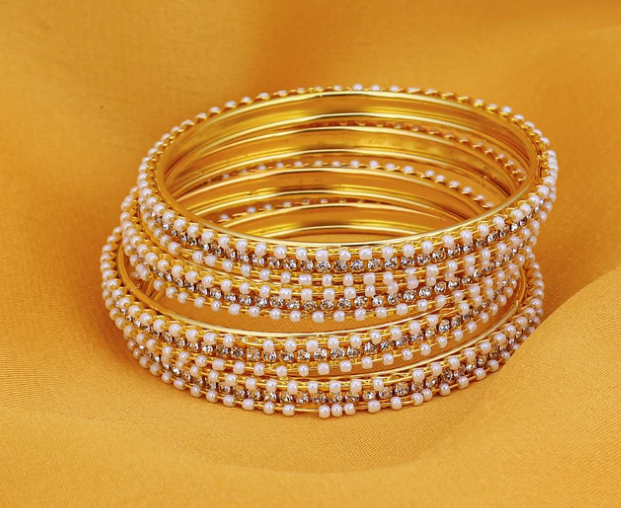 Fascinating Gold Plated AD Bangles For Women Pack Of 4 Size 2.8
