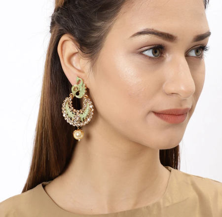 Fine Mint Peacock Gold Plated Chand Bali Earring