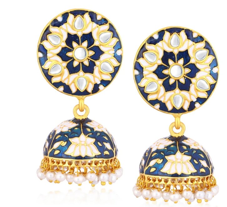 Ethnic Gold Plated Kundan Lotus Meenakari Jhumki Earrings