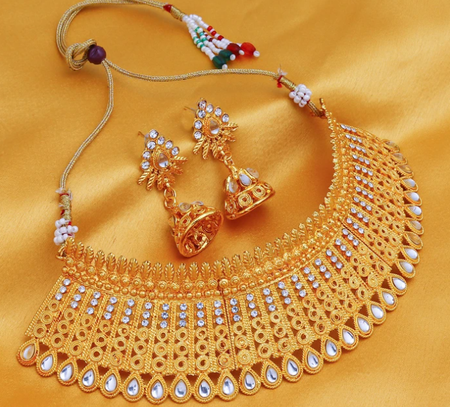 Gorgeous Gold Plated Kundan Choker Necklace Set