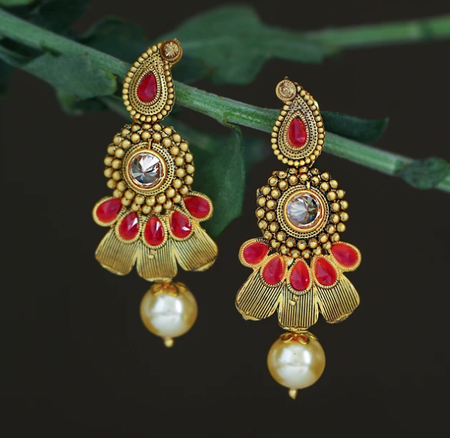 Marvellous Pearl Oxidised Gold Plated Dangle Earring