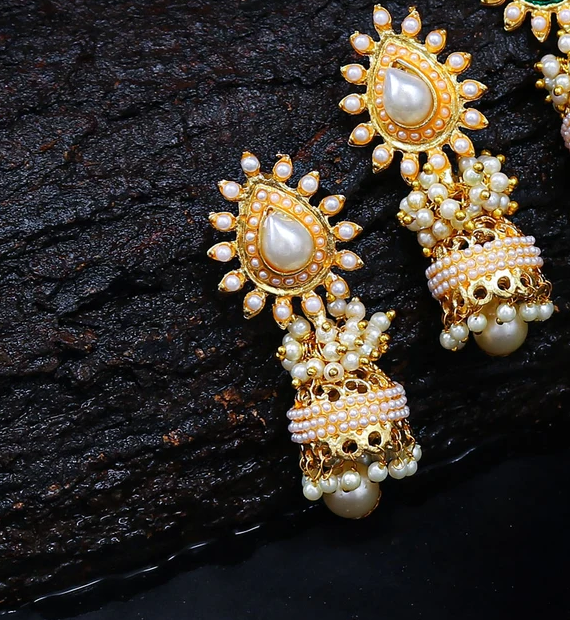 Glimmery Pearl Gold Plated Jhumki