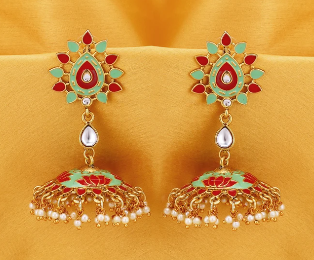 Gold Plated Lotus Meenakari Jhumki