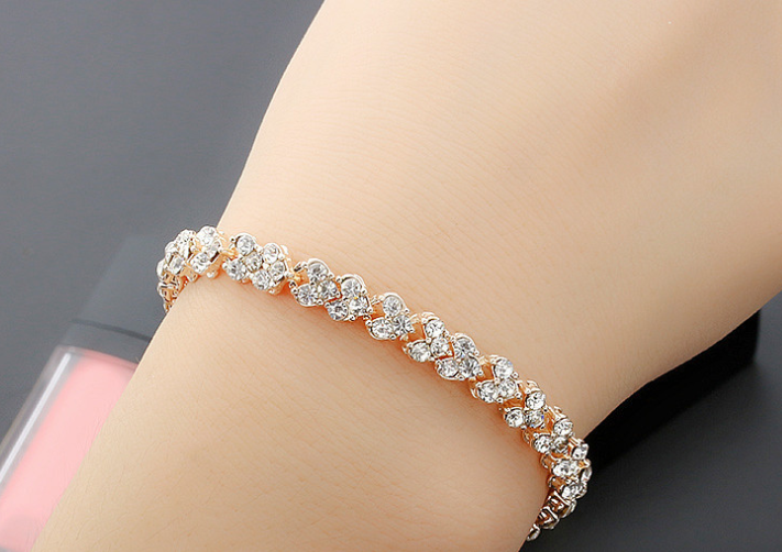 rose gold and platinum plated zircon bracelets set of 2! -online bracelet shopping in lahore, islamabad, and karachi