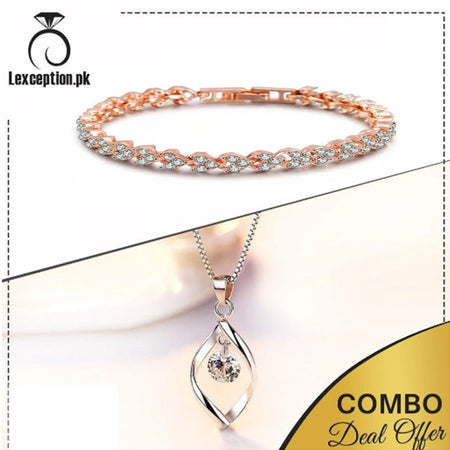 High quality zircon pendant chain necklace and bracelet set of 2! - Lexception