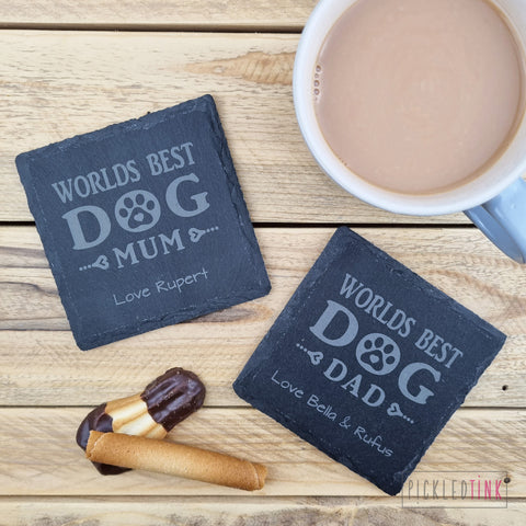 Best Dog Mum/Dad Slate Coaster