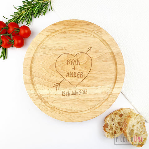 Couples Heart Tree Carving Cheese Board