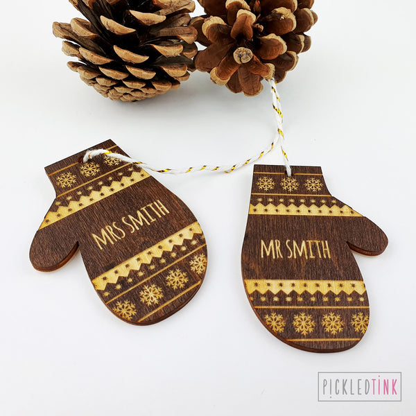 Couples Mitten Christmas Tree Decoration