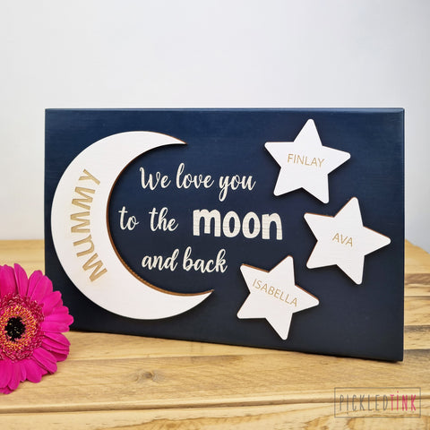 'Love you to the moon and back' Free-standing Block