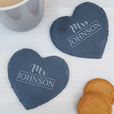 Mr and Mrs Slate Coasters