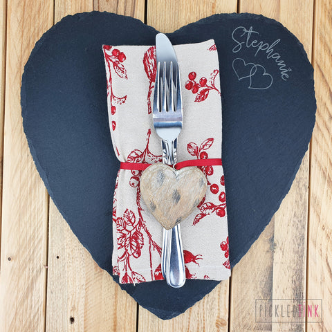 Couples Slate Heart Placemats - Set of Two