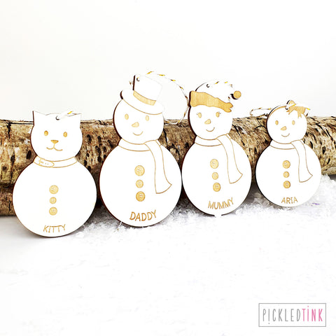 Snowmen Family Christmas Tree Decorations