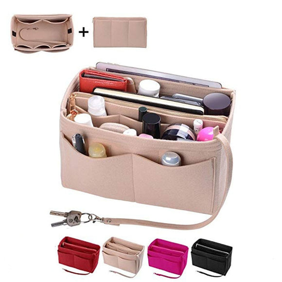 Purse Organizer Insert - Felt Bag Organizer With Zipper