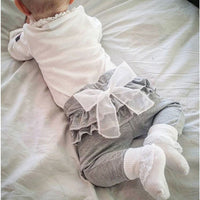 White chiffon big bow gray baby pants 0-2 years