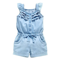 Girls Rompers Denim Blue Cotton 0-5Y