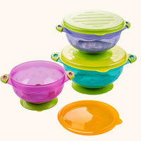 3 Pcs set Training Baby Bowls with Lid Slip Sucker