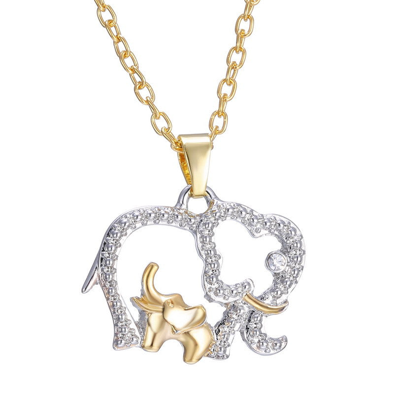 Plated Gold Silver Crystal Elephant