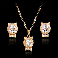 Clear Austrian Crystal Cat Gold Plated Pendant Set