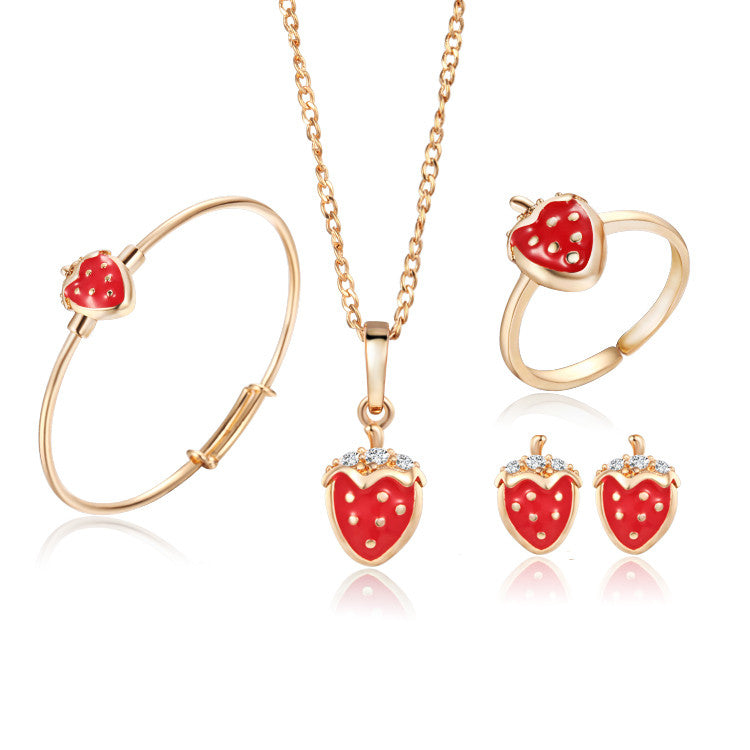 Gold Plated Kids Jewelry Sets Strawberry