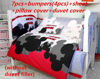 6/7PCS Mickey Mouse Baby Bedding Set 120*60/120*70cm