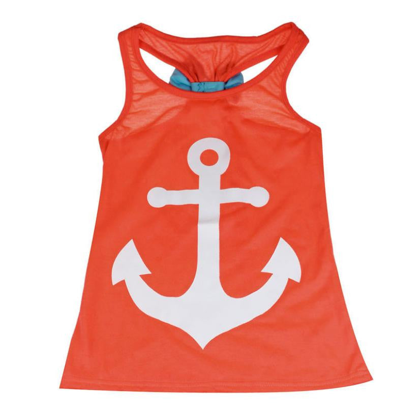 Baby Girl Backless Anchor Tank Top