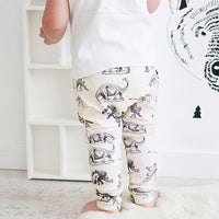 Dinosaur on Cream Harem Pants